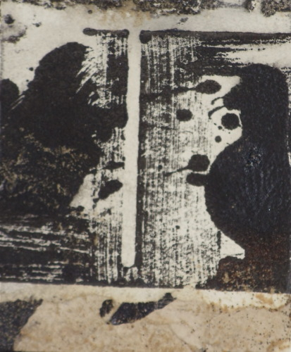 Black and white gestural mono print with collage and sand applications