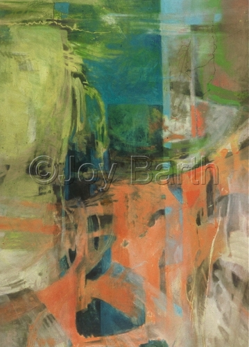 Oil on Canvas, vertical abstract in tones of green and yellow and orange