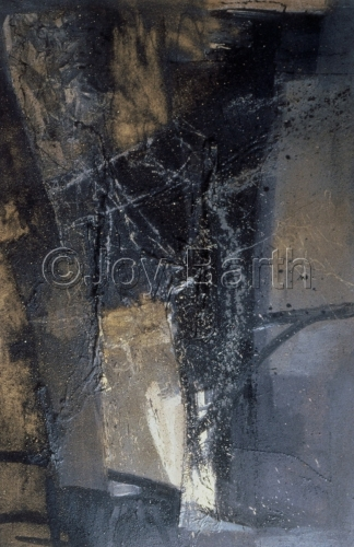 Oil Relief with Sand  on Canvas, vertocal,abstract in black ,off white and beige. (large view)