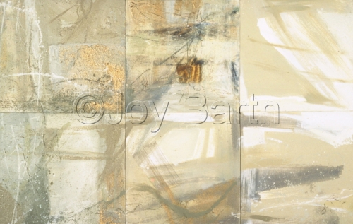 White and off white expressionsitic painting , caligrahic in nature, format of six attached canvases (large view)