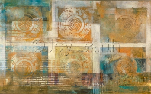 Mixed media print on canvas utilizing bronzing powders and oriental motif, caligraphy repetitive printmaking. (large view)