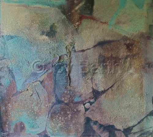 Relief Canvas with sand applications, depicting Rocks , inspired by Uvas Canyon in CA.