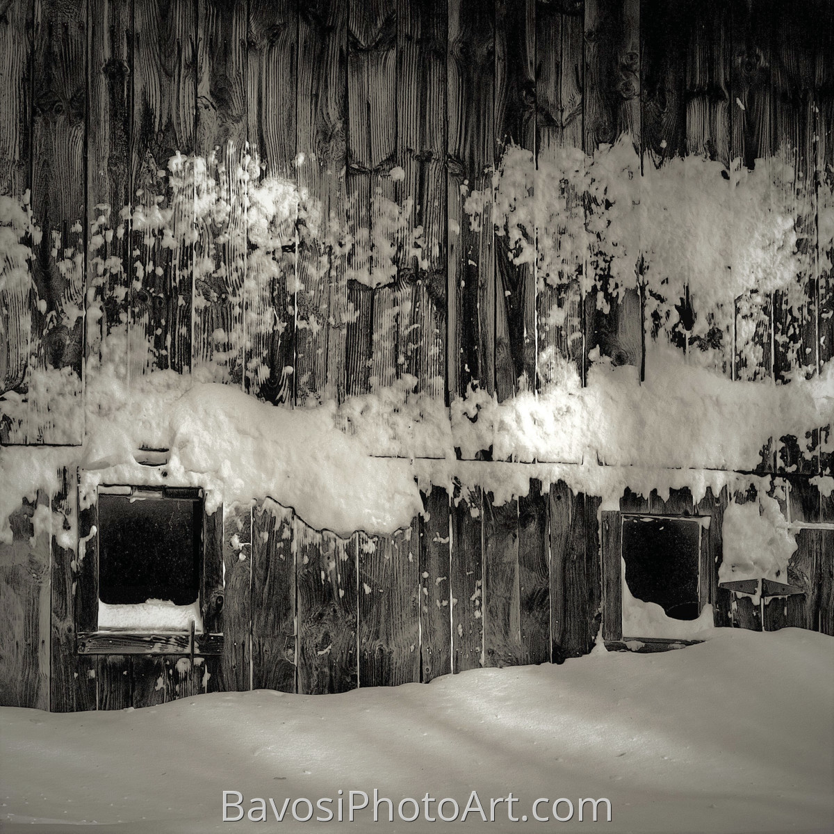 Snow On A Barn Wall (large view)