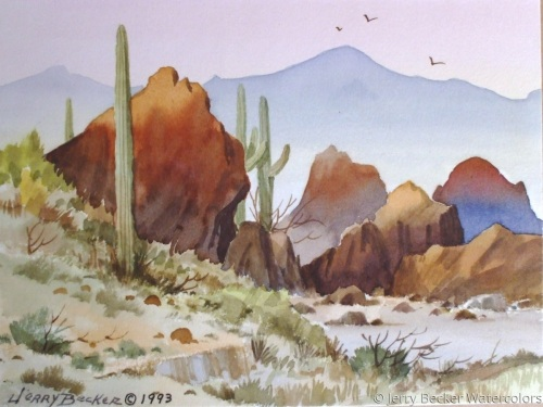saunshine on the rocks by Jerry Becker Watercolors