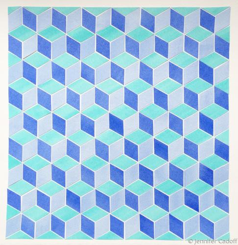Tumbling Blocks, Aqua/Blue (Quilt Series)