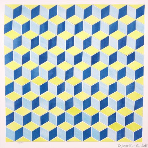Tumbling Blocks, Blue/Green (Quilt Series)