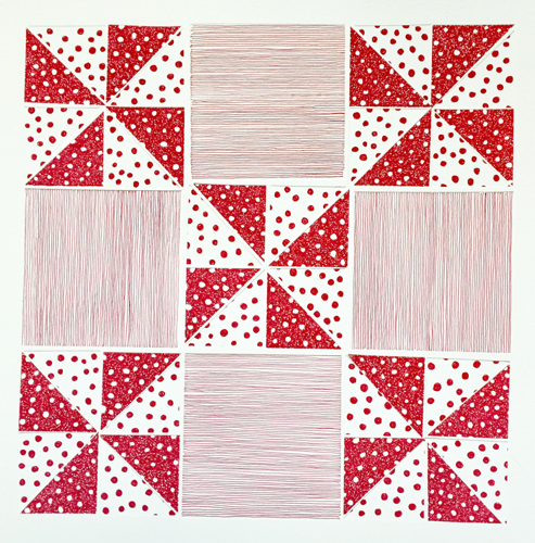 Pinwheel, Red (Quilt Series)
