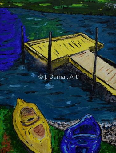 Kayaks at Dock on River