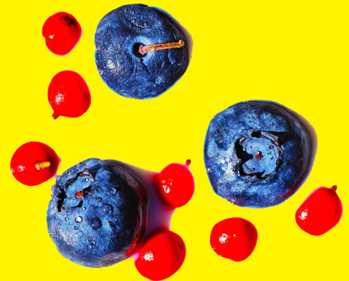 blueberries & peppers on mustard