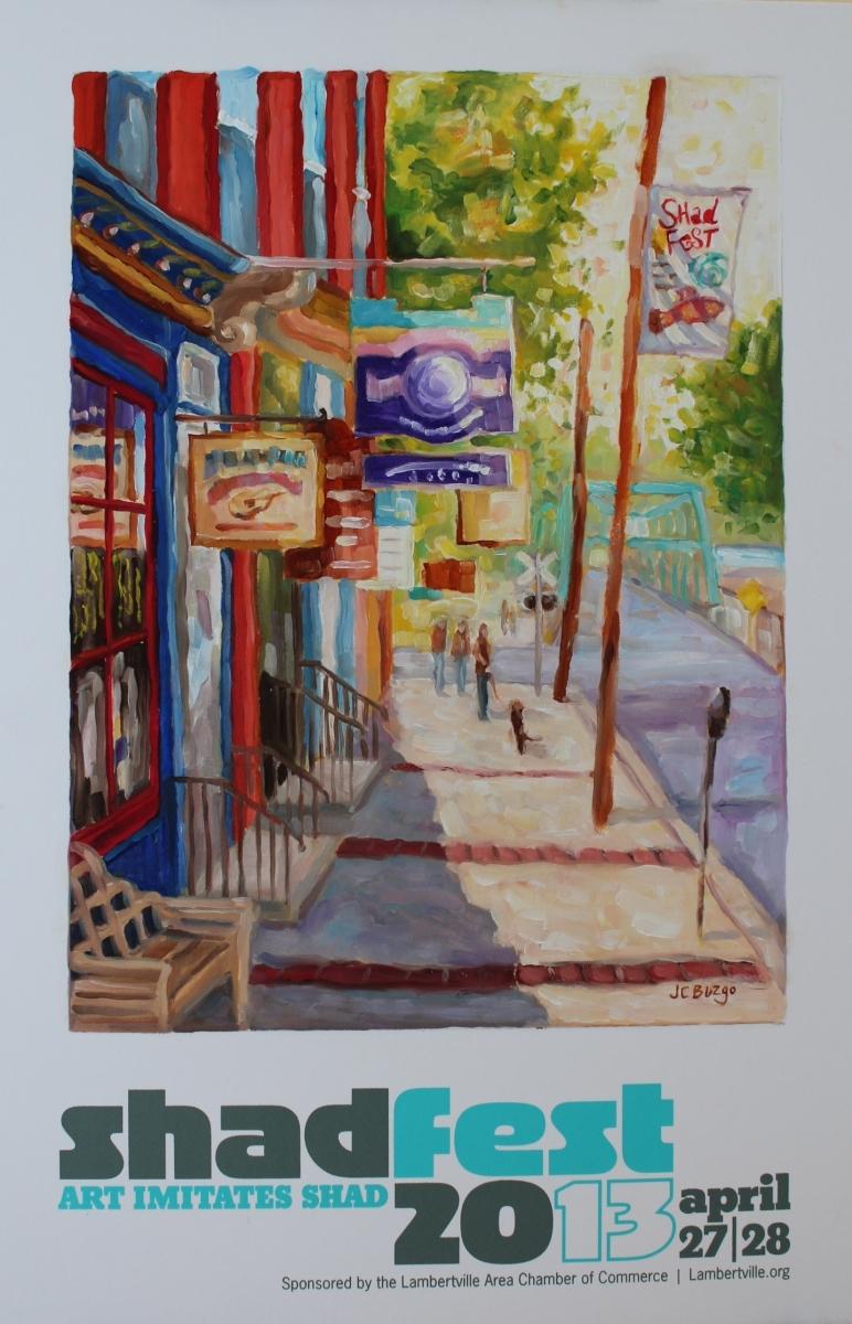 "Shad Fest Poster 2013 ""Bridge Street, Lambertville"" (large view)"