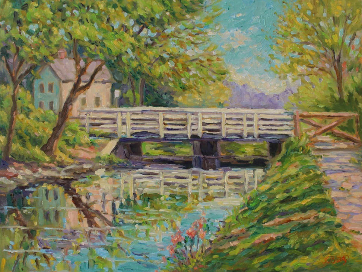 Canal Path Bridge in Spring (large view)