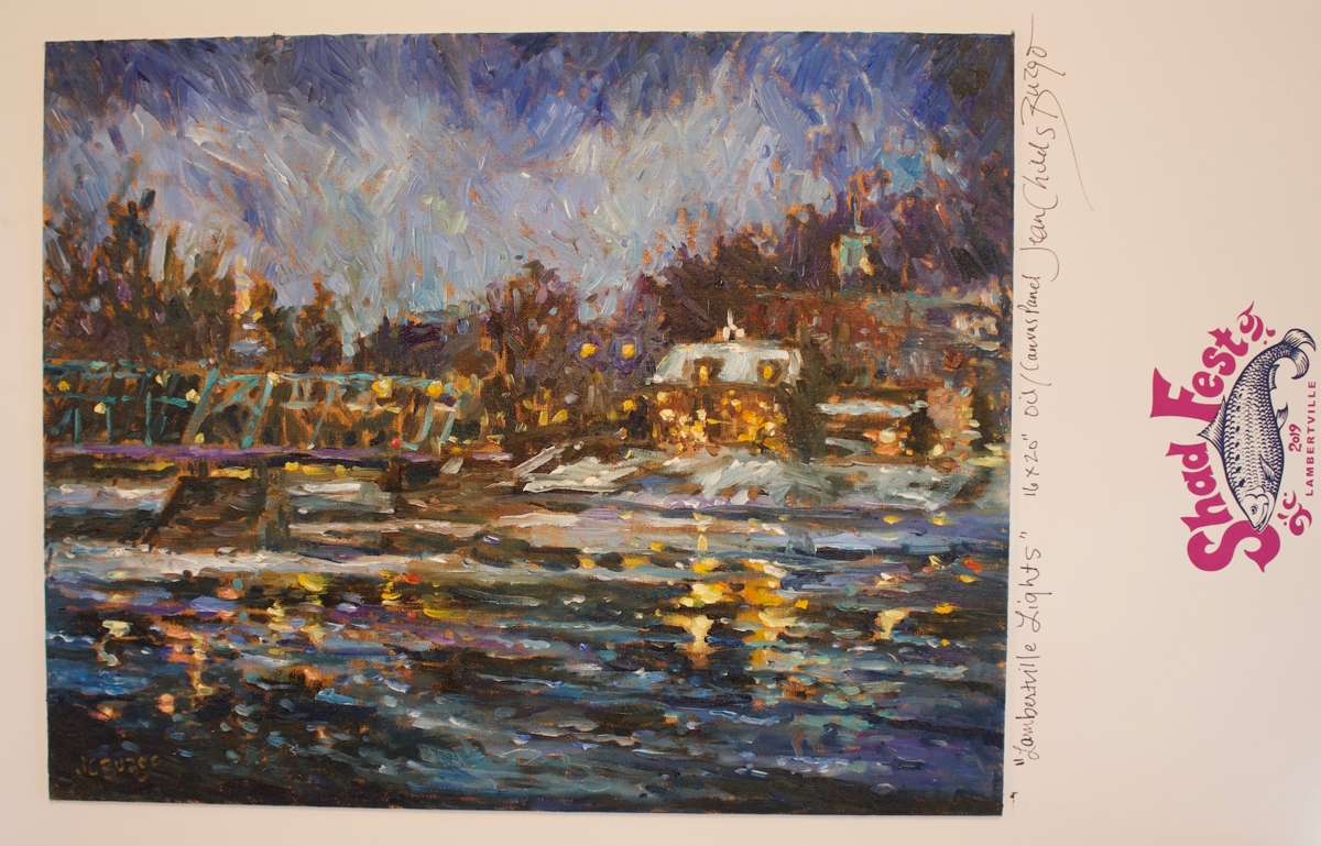 "Shad Fest Poster 2019 Large Size ""Lambertville Lights"" (large view)"
