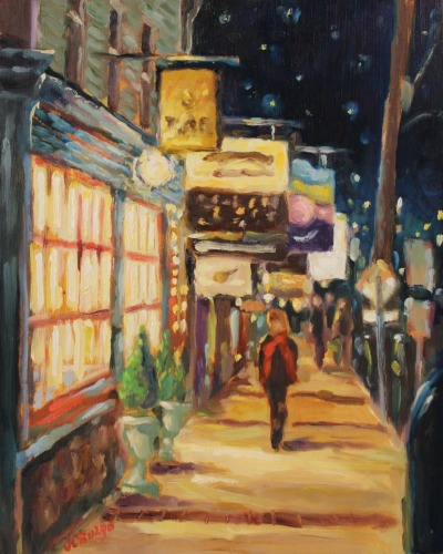 Night Stroll with Red Scarf