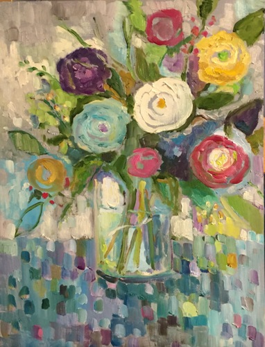 Bouquet on Mosaic Tablecloth