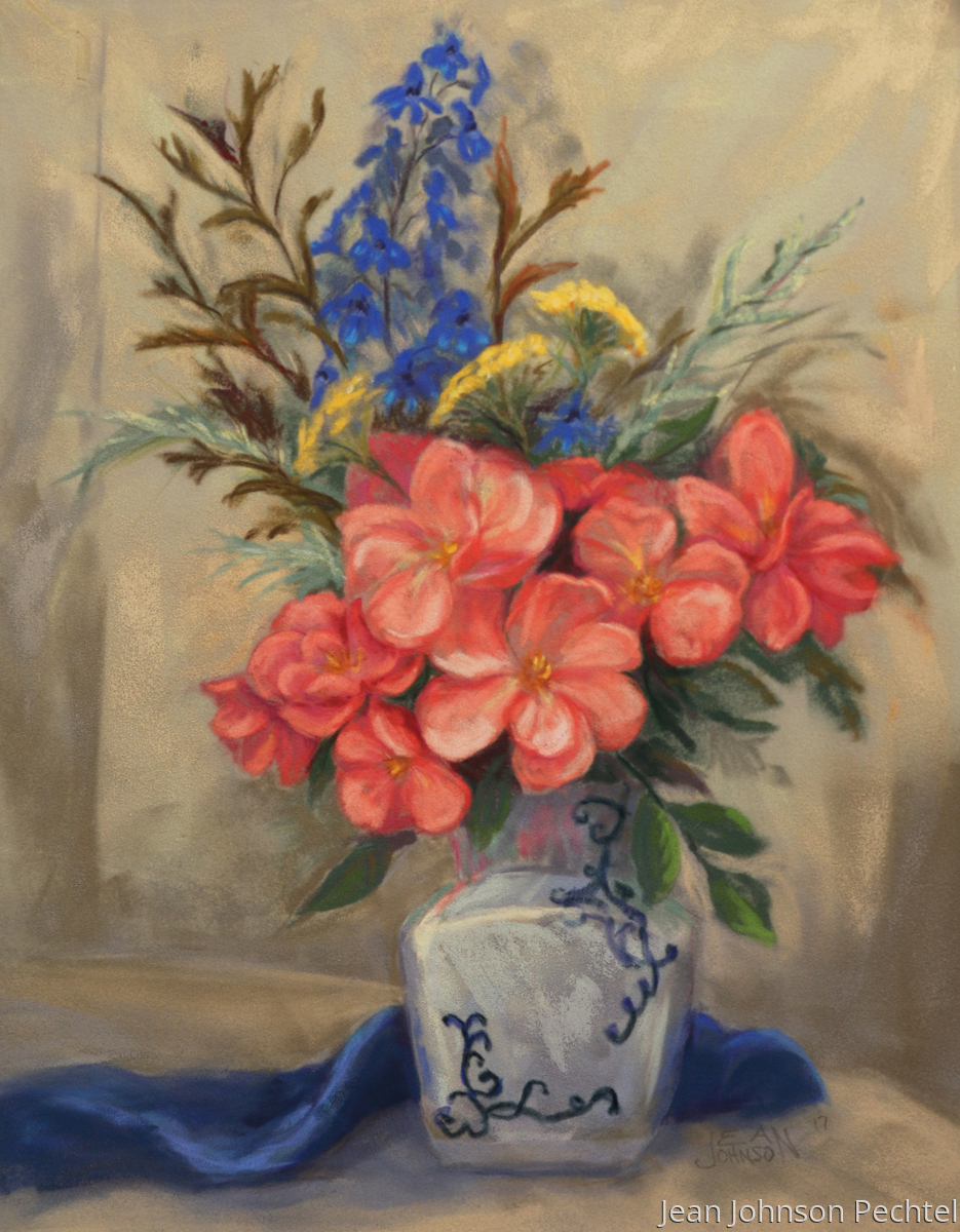 Delphinium and Roses (large view)