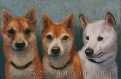The three pups by Jean Johnson Pechtel, Artist