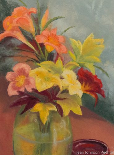 Daylilies in Green Glass Vase