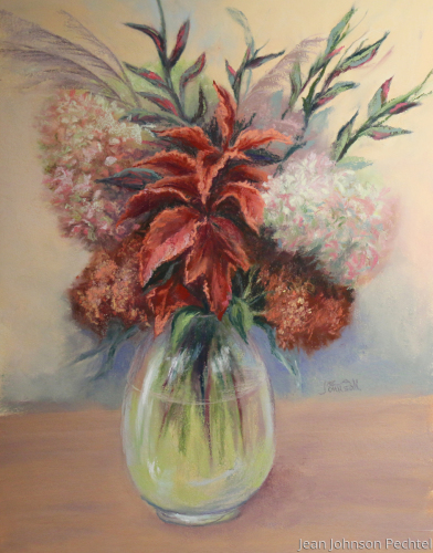 Hydrangea and Coleus in a glass vase