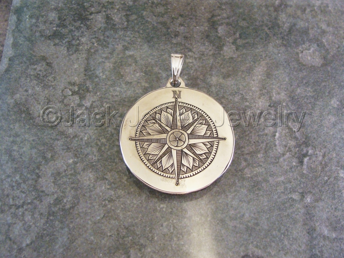 Jewelry hand engraved sterling silver compass rose pendant hand engraved sterling silver compass rose pendant mozeypictures Image collections