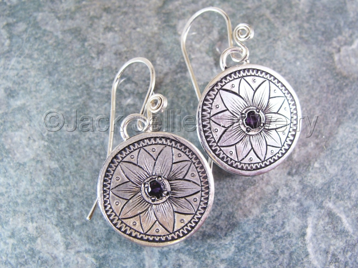 Engraved Silver Flower Earrings with Amethyst (large view)