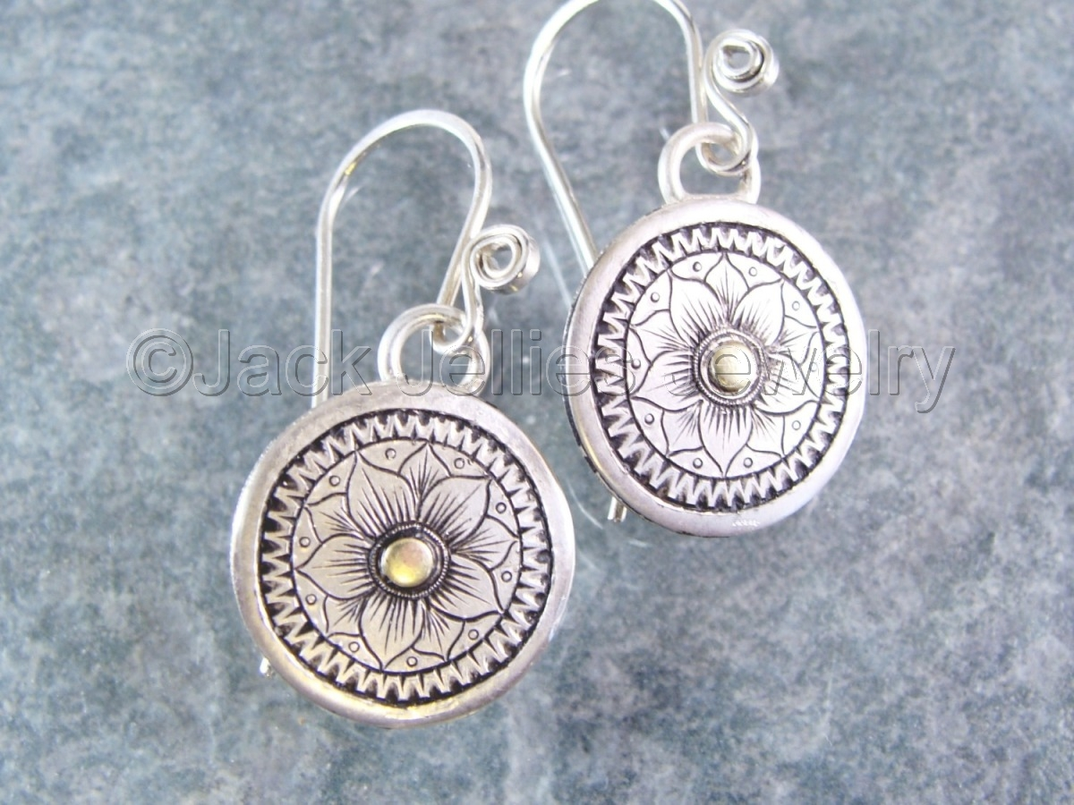 Hand Engraved Sterling Flower Earrings with 14 k gold (large view)