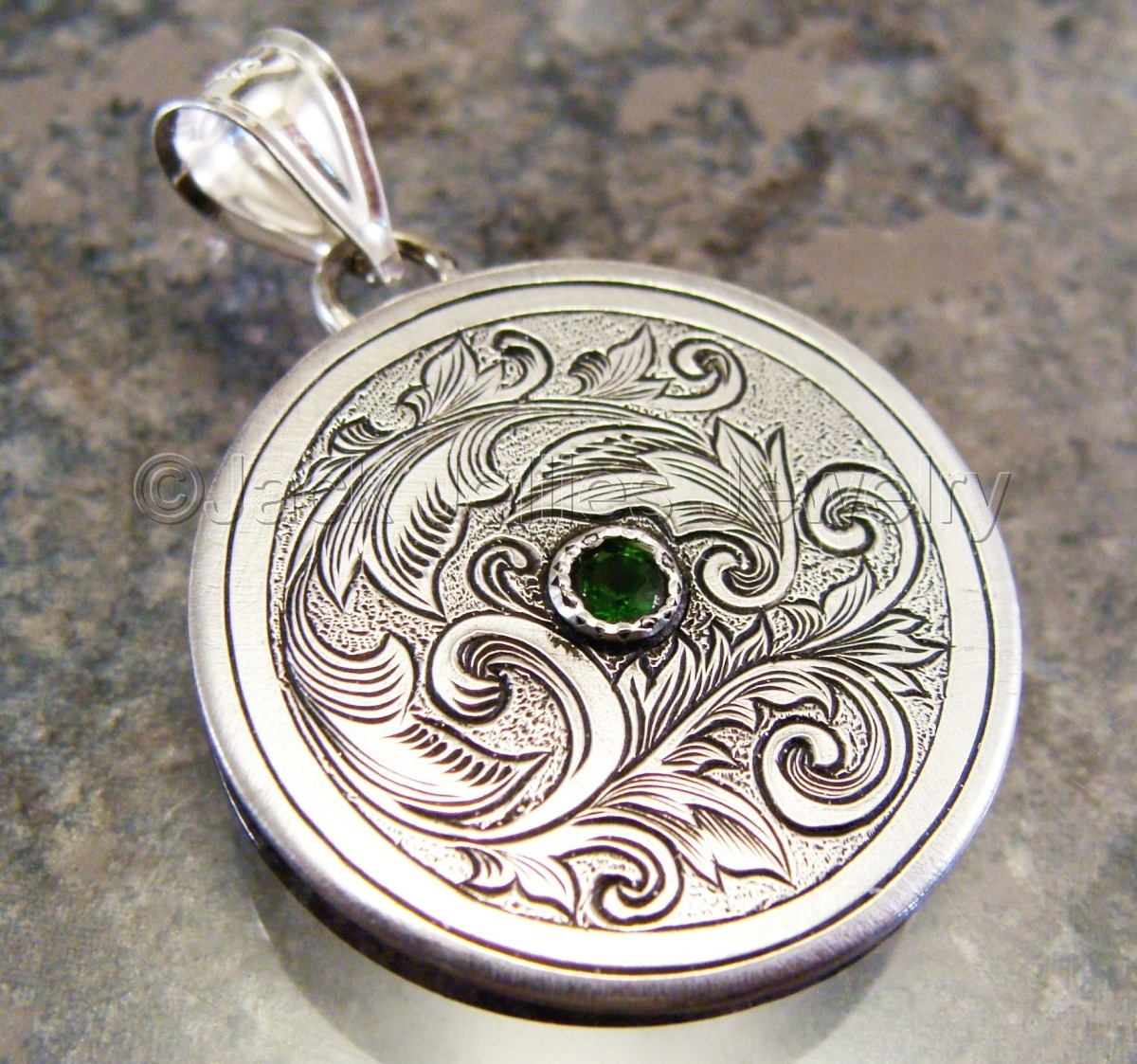 Hand Engraved Art Nouveau Silver Scrollwork with Russian Chrome Diopside Pendant (large view)
