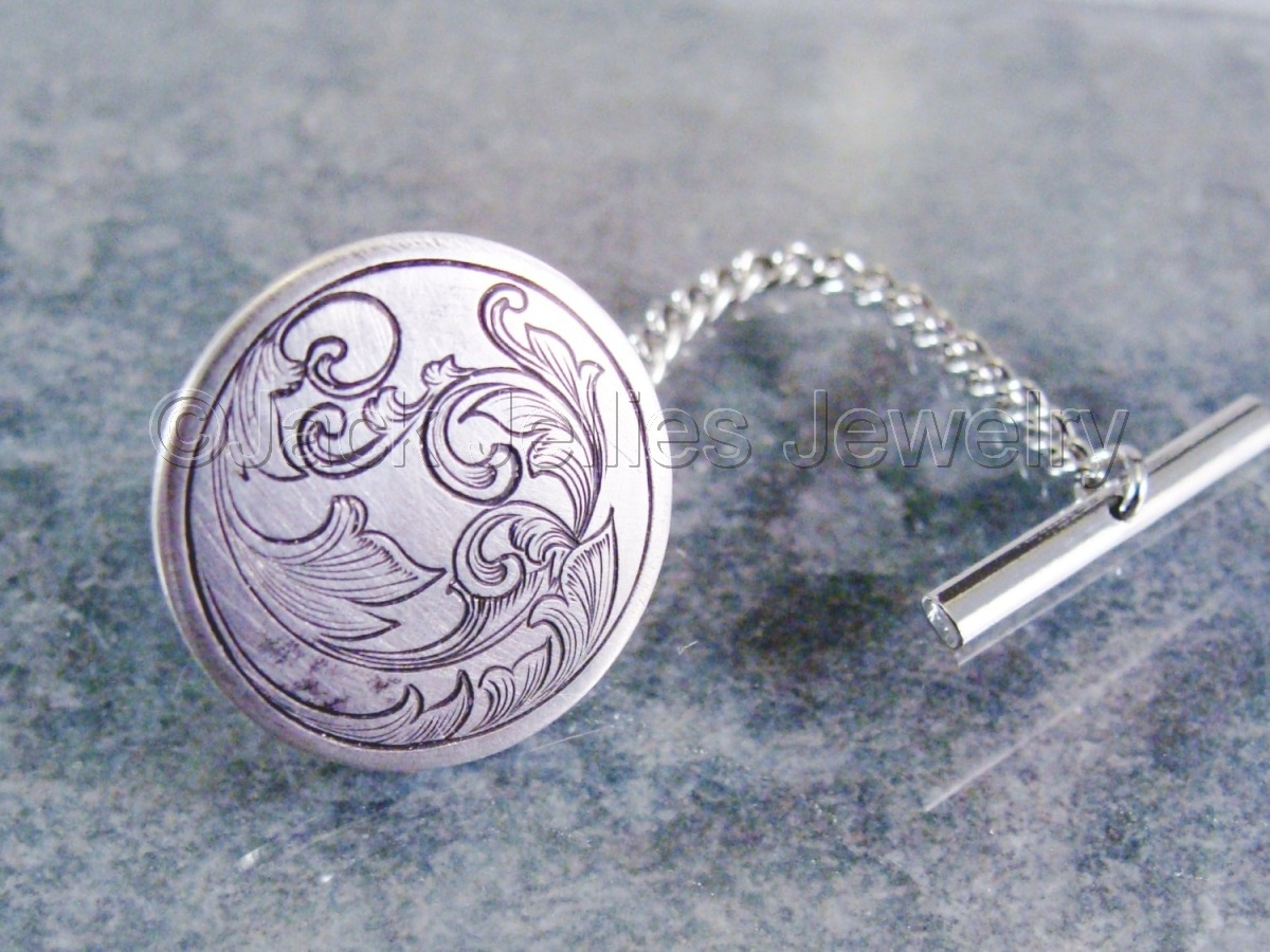 Engraved Silver Scrollwork Tie Tac (large view)