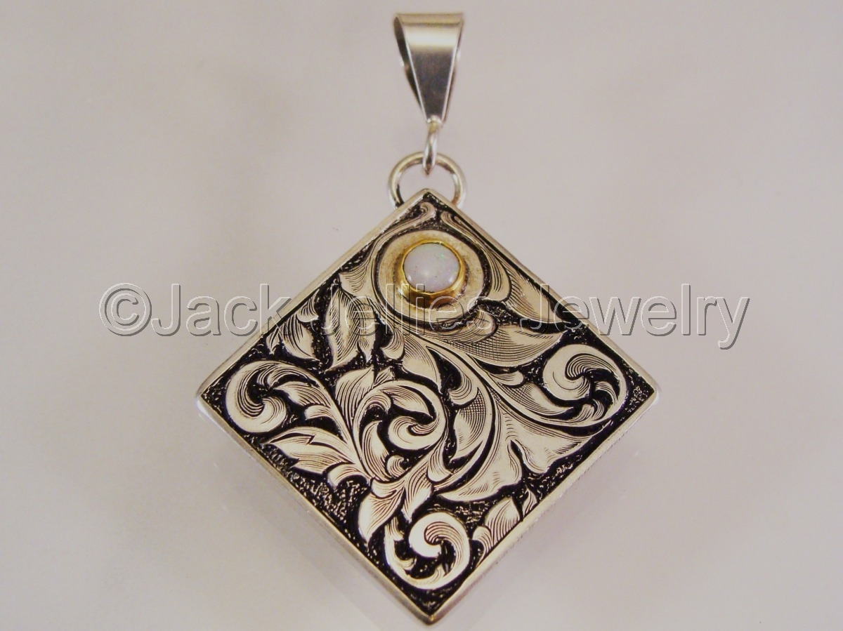 Hand engraved art nouveau  sterling silver pendant with opal and gold (large view)