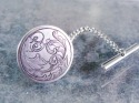 Engraved Silver Scrollwork Tie Tac (thumbnail)
