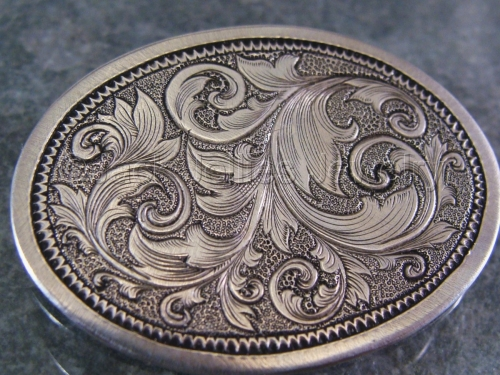 Engraved Silver Scrollwork Brooch