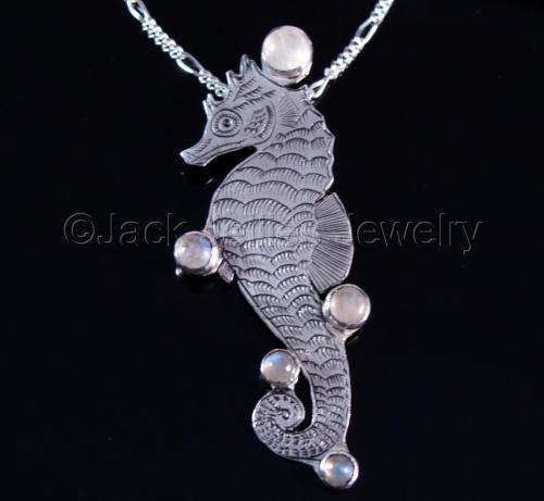 Art Nouveau Seahorse Silver Engraved Necklace