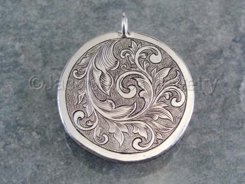 Jewelry sterling silver hand engraved scrollwork pendant sterling silver hand engraved scrollwork pendant mozeypictures Image collections