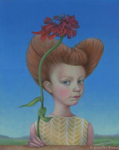 Painting Quot Girl With Zinnia Quot Original Art By Jennifer Knaus