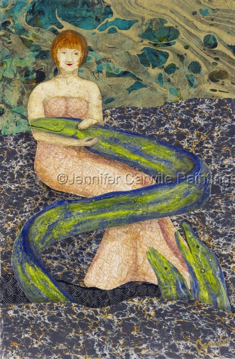 Mermaid petting a moray eel (large view)
