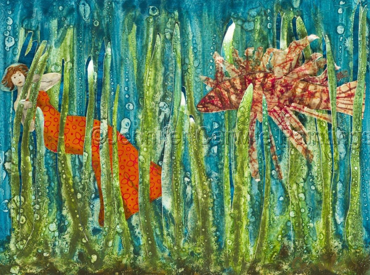 Mermaid hides in seaweed while adjusting to her surroundings (large view)