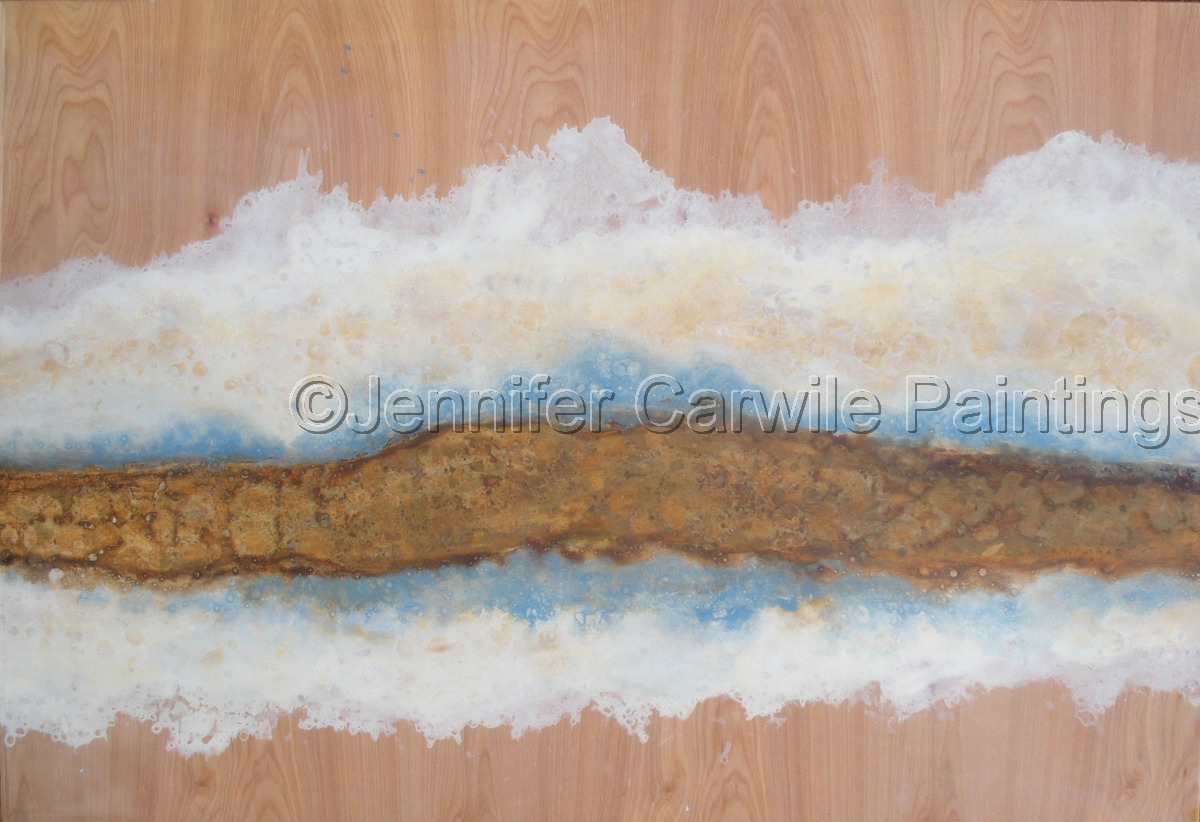 white cloud with gold leaf on birch (large view)