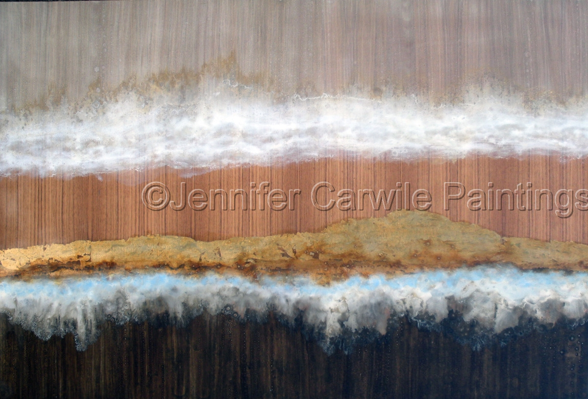 white cloud with gold leaf on walnut (large view)