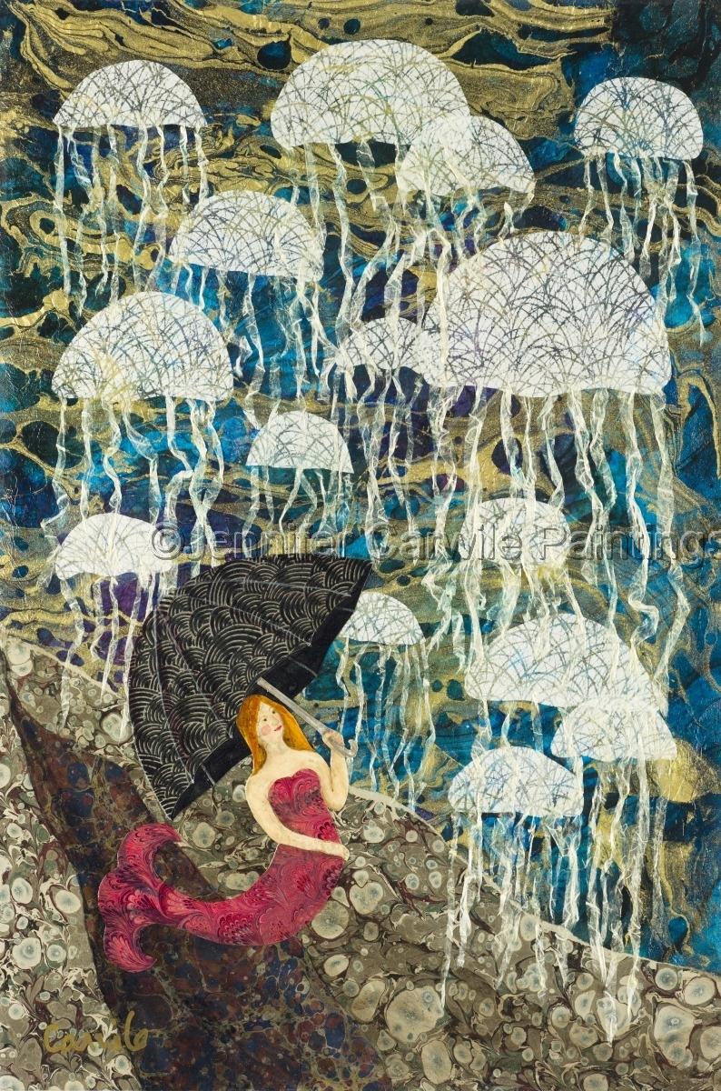 Jellyfish Raining on a mermaid (large view)