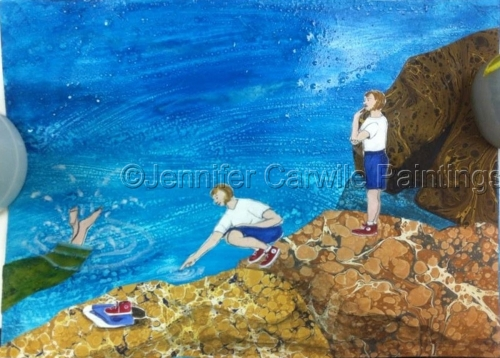 Woman becomes Mermaid swims off into sea (large view)