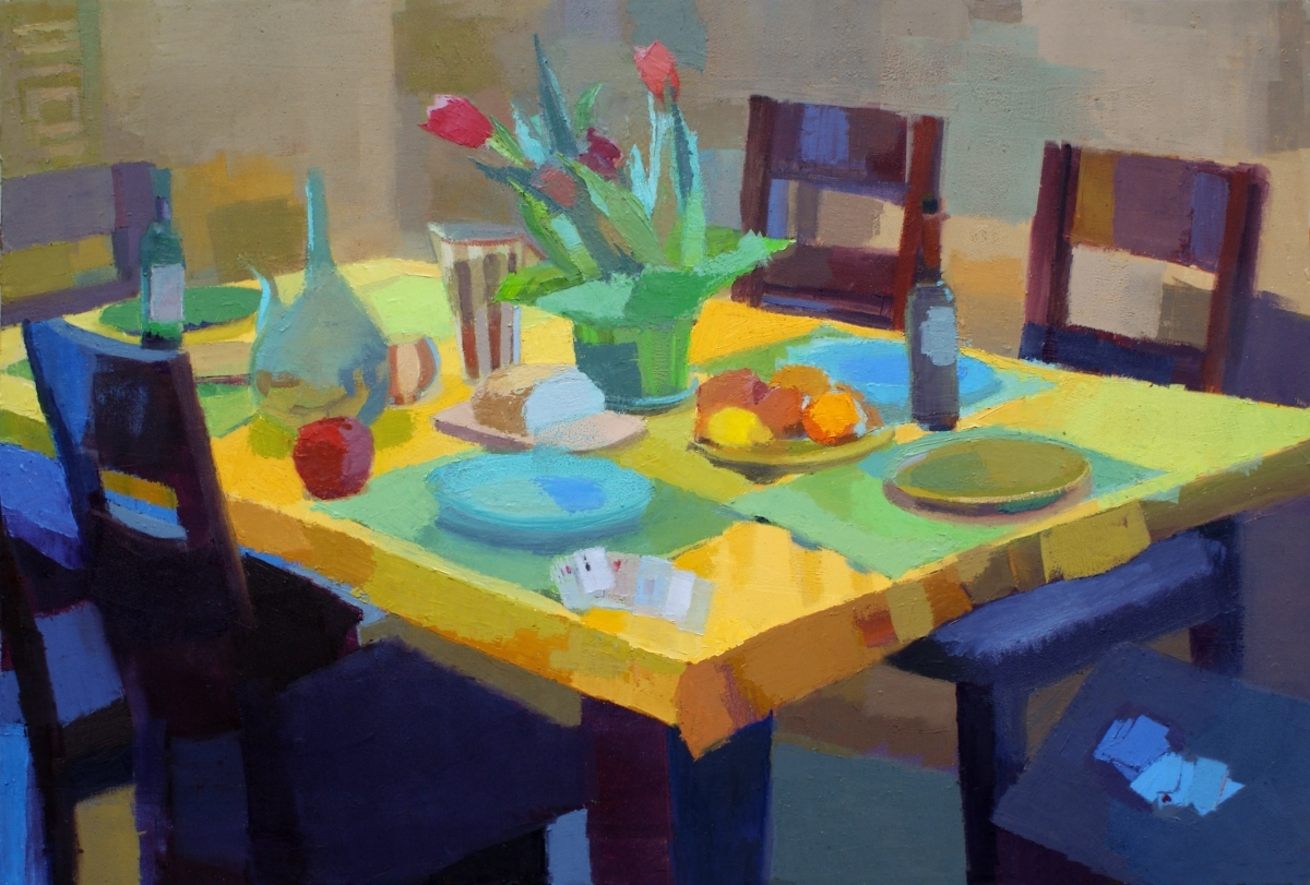 Representational oil painting of still life with yellow tablecloth by Massachusetts painter Jennifer O'Connell (large view)