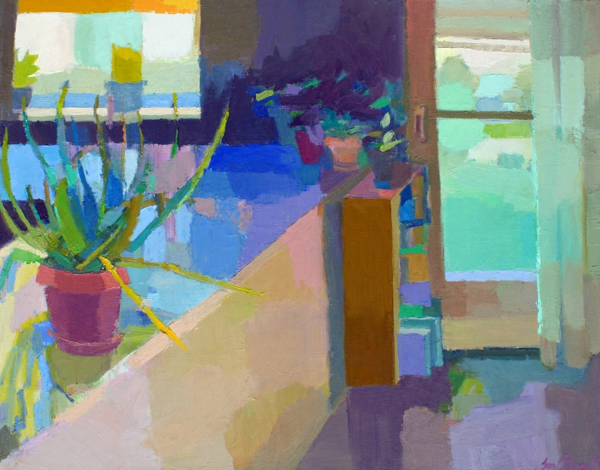 Representational oil painting of interior with window, aloe plant and pots by Massachusetts painter Jennifer O'Connell (large view)