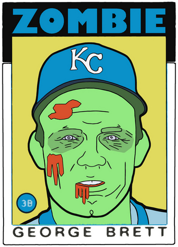 Mixed Media-ZOMBIE GEORGE BRETT!!