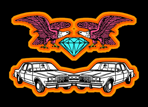 cars, eagles and a diamond