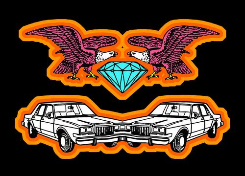 cars, eagles and a diamond