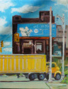 Miniature oil painting of the industrial area in the city of Detroit. Yellow trucks travel the roads. (thumbnail)