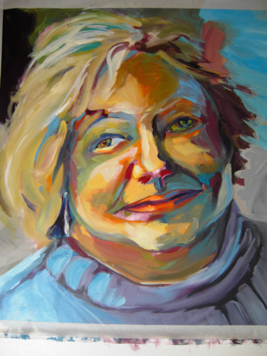 Oil painting of a friend full of unusual color and light patterns (large view)