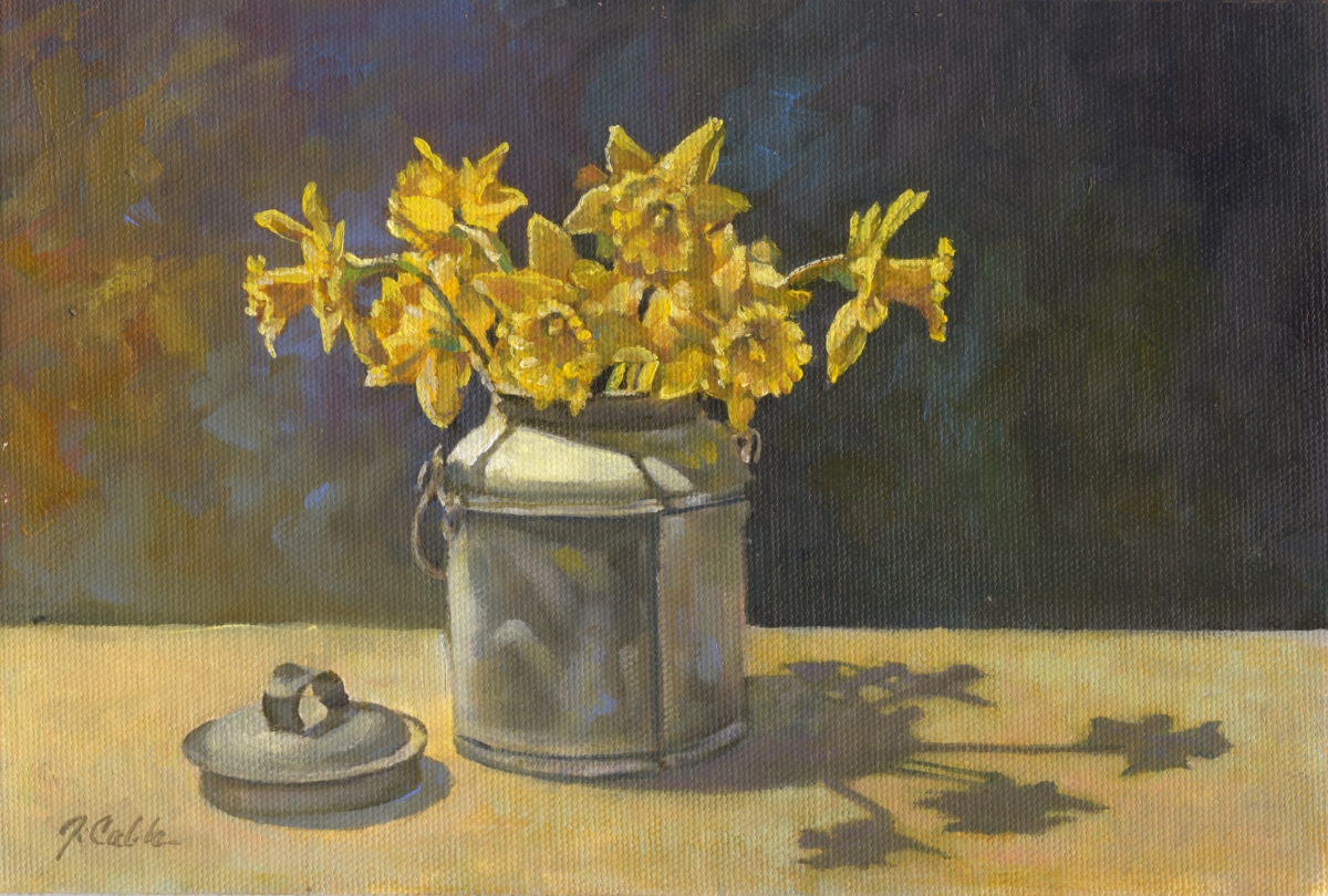 Daffs in Cream Can (large view)