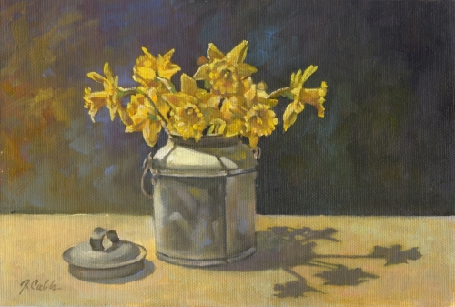 Daffs in Cream Can by Jerry Cable Studio