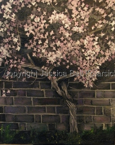 Pink Clematis on a Brick Wall