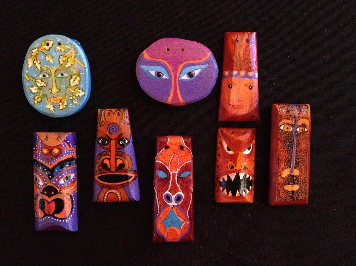 Pendants, faces (large view)